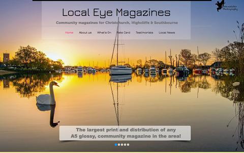 Screenshot of Home Page localeyemagazines.co.uk - Christchurch Eye and Highcliffe Eye Magazines - captured Feb. 9, 2016