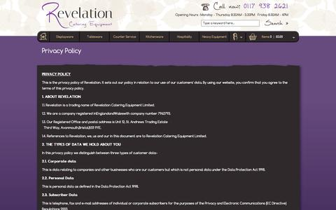 Screenshot of Privacy Page revelationcatering.co.uk - Privacy Policy - captured Oct. 26, 2014