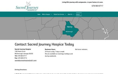 Screenshot of Contact Page sacredjourneyhospice.com - Contact Sacred Journey Hospice | McDonough GA | 678-583-0717 - captured July 27, 2018