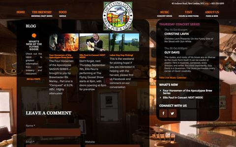 Screenshot of Blog flyinggoose.com - Blog | Flying Goose Brew Pub & Grille, New London, NH - captured Oct. 6, 2014