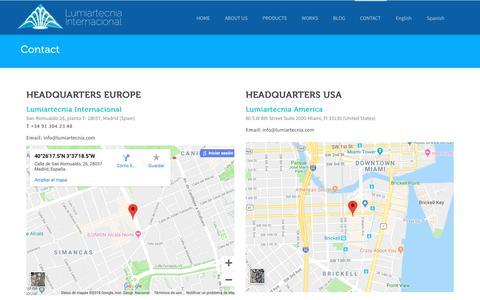 Screenshot of Contact Page lumiartecnia.com - Contact - Lumiartecnia Internacional - captured Nov. 11, 2018