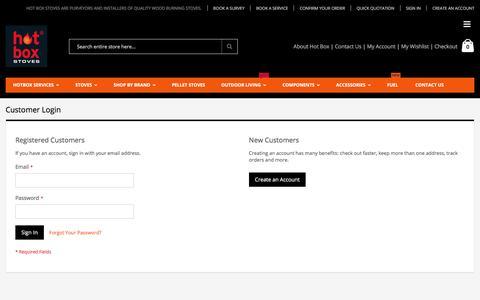 Screenshot of Login Page hotboxstoves.co.uk - Customer Login - captured Sept. 7, 2017
