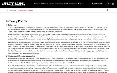 Screenshot of Privacy Page libertytravel.com - Privacy Policy | Liberty Travel - captured June 22, 2019