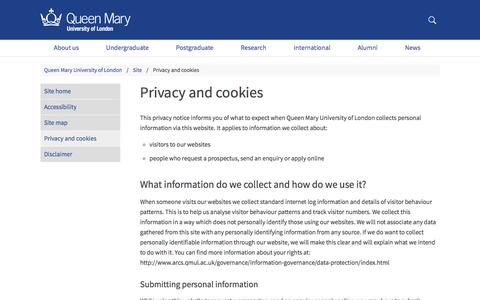 Screenshot of Privacy Page qmul.ac.uk - Privacy and cookies - Queen Mary University of London - captured Dec. 10, 2017