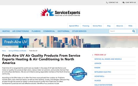 Fresh-Aire UV Air Quality Products in North America | Service Experts