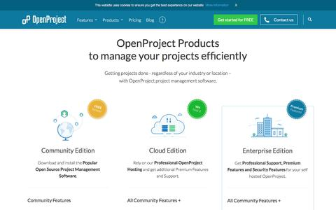 Screenshot of Products Page openproject.org - Project collaboration software products - OpenProject - captured Oct. 8, 2017