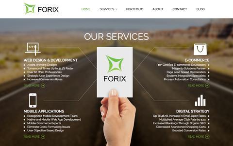 Screenshot of Services Page forixwebdesign.com - Web Design, Mobile App Dev, E-Commerce, Digital Agency | Forix - captured Sept. 25, 2014