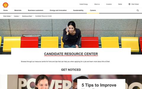 Screenshot of Jobs Page shell.com - Candidate Resource Centre | Shell Careers | Shell Global - captured Dec. 8, 2018