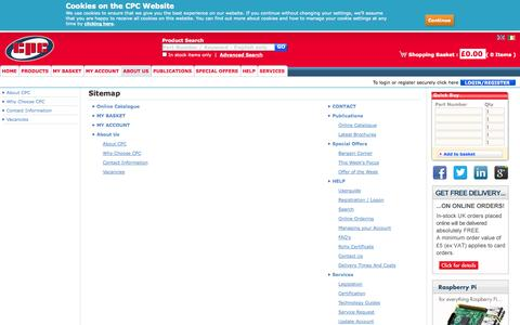Screenshot of Site Map Page farnell.com - CPC - Over 100, 000 products from one of the worlds leading distributors of electronic and related products. | CPC - captured Sept. 18, 2014