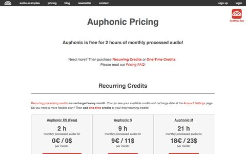 Screenshot of Pricing Page auphonic.com - Auphonic Pricing - captured Sept. 22, 2014