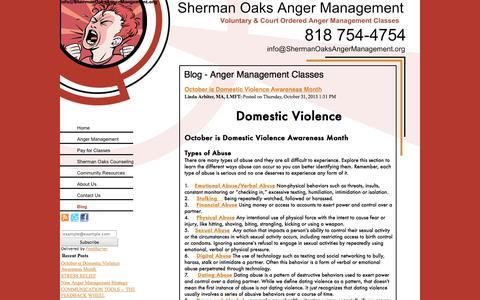 Screenshot of Blog shermanoaksangermanagement.org - Blog - Anger Management Classes - captured Oct. 26, 2014
