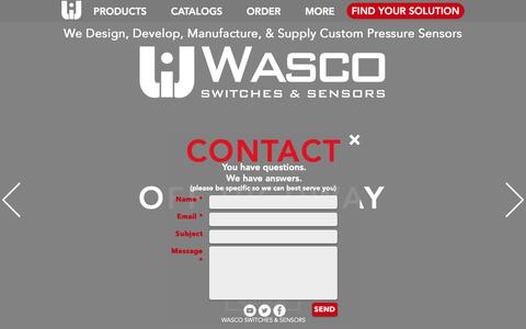 Screenshot of Home Page wascoinc.com - Wasco Inc. | Switches & Sensors | California - captured March 20, 2019