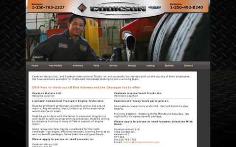 Screenshot of Jobs Page cooksonmotors.com - Cookson Motors - Used International Trucks  Kelowna, Penticton - captured Oct. 3, 2014