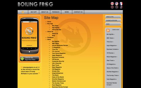 Screenshot of Site Map Page boilingfrog.me - Boiling Frog - captured Oct. 5, 2014