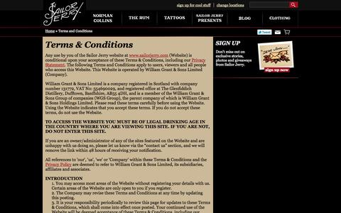 Screenshot of Terms Page sailorjerry.com - Terms And Conditions | Sailor Jerry - captured Sept. 23, 2014
