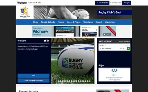Screenshot of Home Page pitchero.com - Rugby Club 't Gooi - captured Oct. 12, 2015