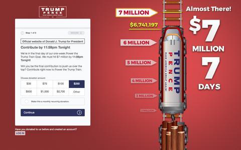 Screenshot of Landing Page donaldjtrump.com - Donald J. Trump for President, Inc. - captured Sept. 13, 2017