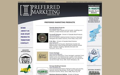 Screenshot of Products Page preferredmarketing.net - Preferred  Marketing Associates - Products - captured Oct. 8, 2014