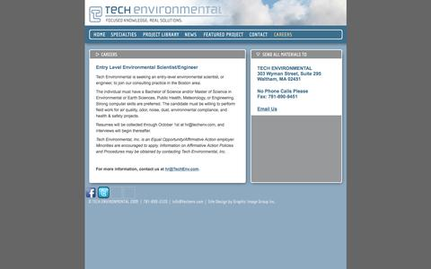 Screenshot of Jobs Page techenv.com - Tech Environmental Careers: Immediate Openings in the Environmental Air Quality Permitting and Compliance Industry - captured Feb. 14, 2016