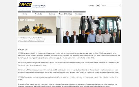 Screenshot of About Page araco.com.qa - About Us - ARACO - Arabian Agencies Co. Qatar - captured Oct. 4, 2014