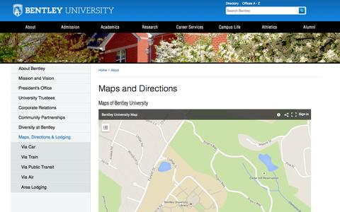 Screenshot of Maps & Directions Page bentley.edu - Map of Bentley University | Bentley University in Massachusetts - captured Sept. 24, 2014