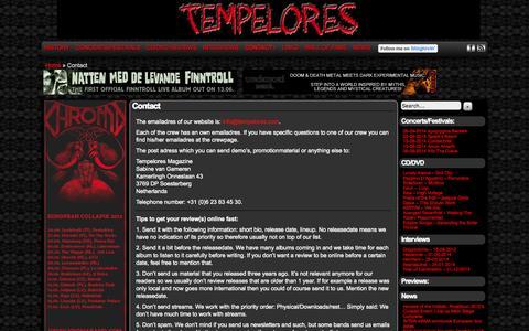 Screenshot of Contact Page tempelores.com - Tempelores Magazine » Contact - captured Oct. 7, 2014