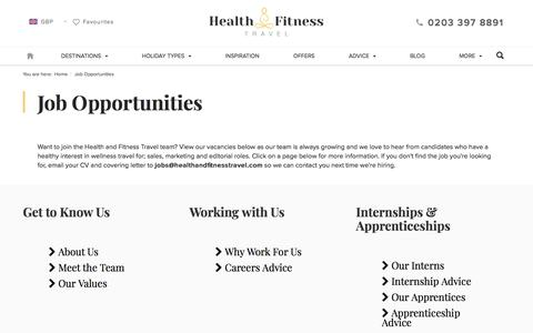 Screenshot of Jobs Page healthandfitnesstravel.com - Job Opportunities at Health and Fitness Travel - captured July 17, 2018