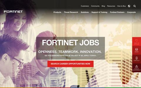 Screenshot of Jobs Page fortinet.com - Fortinet - captured April 1, 2017