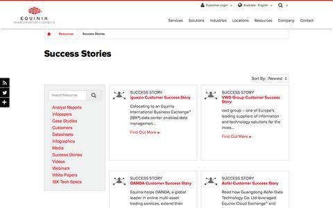 Screenshot of Case Studies Page equinix.com.au - Success Stories Page - captured Dec. 29, 2017