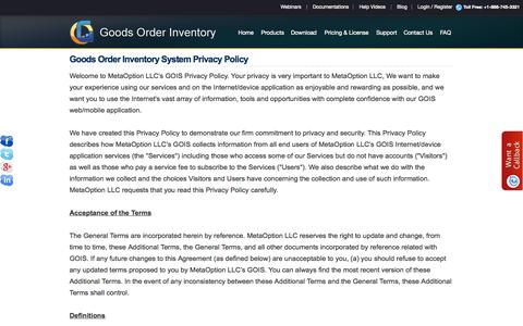 Screenshot of Privacy Page goodsorderinventory.com - GOIS PRO- Product | Inventory Management apps - Privacy Policy - captured Oct. 6, 2014