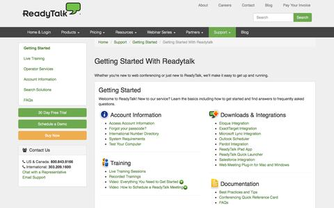 Screenshot of Support Page readytalk.com - Web Conferencing Training & Support | ReadyTalk - captured Oct. 10, 2014