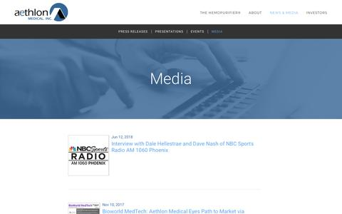 Screenshot of Press Page aethlonmedical.com - Media :: Aethlon Medical, Inc. (AEMD) - captured July 13, 2018