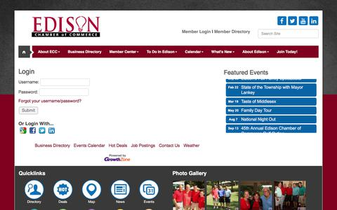 Screenshot of Login Page edisonchamber.com - Login - Edison Chamber of Commerce, NJ - captured Feb. 9, 2018