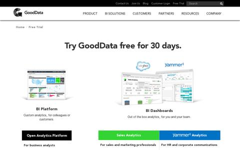 Screenshot of Trial Page gooddata.com - 30 Day Free Trial | GoodData - captured July 20, 2014