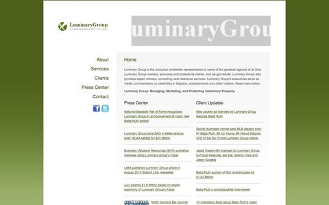 Screenshot of Home Page luminarygroup.com - Luminary Group - Home - captured Oct. 3, 2014