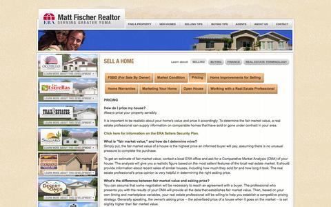 Screenshot of Pricing Page erayuma.com - Sell a Home | Pricing |  ERA Matt Fischer Realtor | Yuma Arizona | Yuma Real Estate - captured Oct. 1, 2014