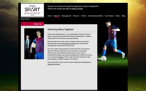 Screenshot of About Page ssm.uk.com - Simply Sport Management | About Us - captured Oct. 26, 2014