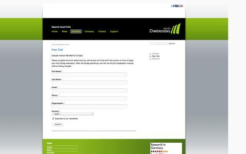 Screenshot of Trial Page micro-dimensions.com - Voloom Free Trial | microDimensions - captured Sept. 16, 2014