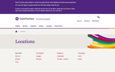 Screenshot of Locations Page grantthornton.in - Locations - captured Jan. 21, 2016