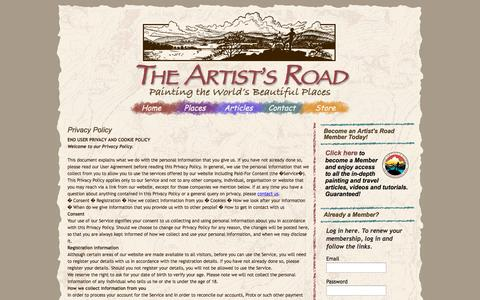 Screenshot of Privacy Page theartistsroad.net - The Artist's Road - captured Oct. 7, 2014