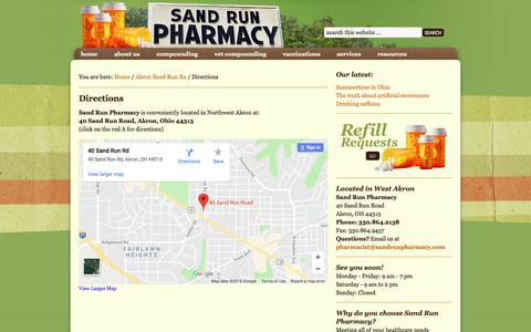 Screenshot of Maps & Directions Page sandrunpharmacy.com - Sand Run Pharmacy – Akron, Ohio – Directions - captured July 27, 2018