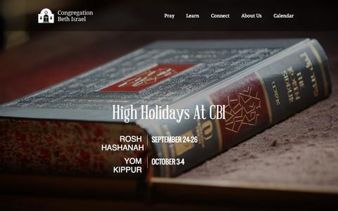 Screenshot of Home Page cbiberkeley.org - Home - Congregation Beth IsraelCongregation Beth Israel - captured Oct. 3, 2014