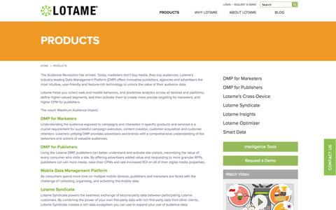 Screenshot of Products Page lotame.com - Data Management Platform, Audience Management, Data Driven Marketing | Lotame Solutions Inc - captured Nov. 5, 2014