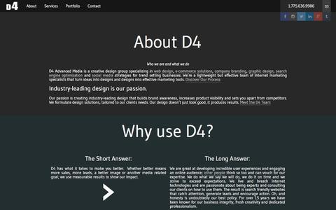 Screenshot of About Page d4webdesign.com - About | D4 Advanced Media - captured Jan. 21, 2016