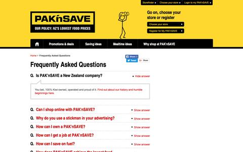 Screenshot of FAQ Page paknsave.co.nz - Frequently Asked Questions | PAK'nSAVE - captured Nov. 3, 2018
