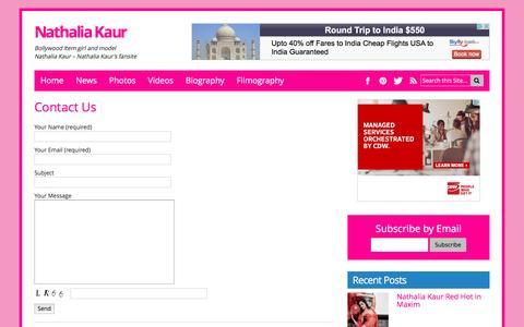 Screenshot of Contact Page nathaliakaur.com - Contact Us - captured May 14, 2016
