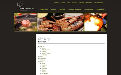 Screenshot of Site Map Page leye.com - Site Map | Lettuce Entertain You - captured Sept. 19, 2014