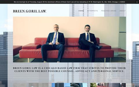 Screenshot of Home Page breengoril.com - Breen Goril Law - captured Oct. 5, 2014
