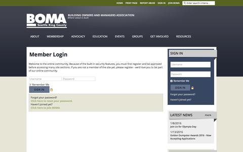 Screenshot of Login Page bomaseattle.org - BOMA Seattle King County - captured Feb. 7, 2016