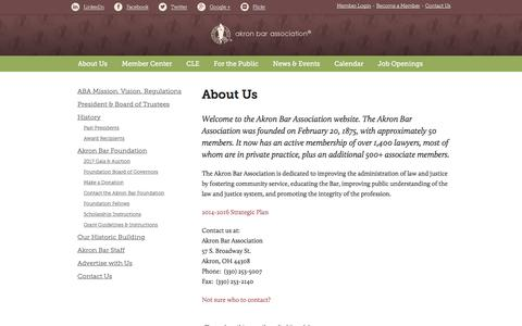 Screenshot of About Page akronbar.org - About Us - Akron Bar Association - captured Nov. 20, 2016